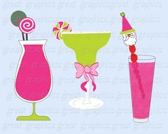 printable preppy Christmas cocktail clip art