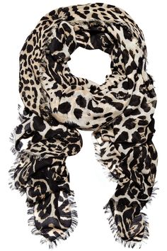 YVES SAINT LAURENT Leopard-print wool and cashmere-blend scarf £660
