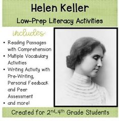 Helen Keller is a beloved figure in American history. This 44 page Helen Keller literacy packet includes several teaching strategies with a loosely structured outline so that you can use the included suggestions or use other strategies you choose. There are plenty of activities included so you can differentiate if you choose.