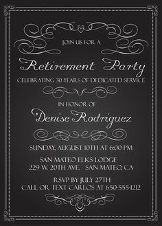 Elegant chalkboard retirement party invitation template retirement chalkboard retirement invitation 5 x 7 printable digital file 4 x 6 available upon request at the time of purchase if you would like this retirement stopboris Image collections