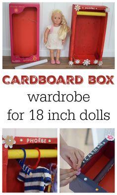 Homemade cardboard box wardrobe for 18 inch dolls #ourgenerationdoll #americandoll #18inchdoll #craftsforkids #kidscrafts