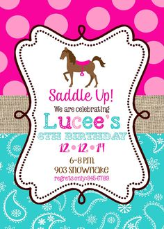 Horse Birthday Party invitations printable or digital file- Pony- horseback…