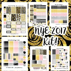 Planner - FREE Printable January New Year's Eve Black, Gold, Grey & Pink Glitter Week Kit