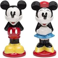 Zak Designs Disney Mickey and Minnie Mouse Ceramic Salt and Pepper Shakers, Mickey & Minnie
