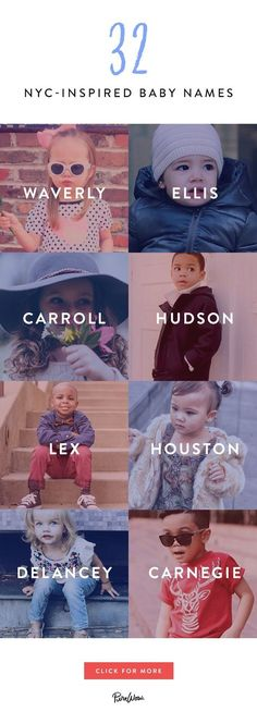 32 NYC-Inspired Baby Names That Are Too Cute for Words - New York kids are the most fabulous in the universe–they love brunch, they've tried kale ice cre - Unisex Baby Names, Cute Baby Names, Cutest Girl Names, List Of Baby Names, Cool Kid Names, Country Baby Girl Names, Most Unique Baby Names, Baby Girl Names Unique, Mode Instagram