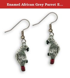 """Enamel African Grey Parrot Earrings by The Magic Zoo. I love the way the translucent red of the tail and the black details enhance the natural shine of the pewter in this pair of enamel African Grey parrot earrings. These earrings are each 7/8"""" tall and 3/8"""" wide. All enamel earrings come on stainless steel ear wires. All of my """"cold enameled"""" jewelry is painted by hand with a durable epoxy paint, and are then cured for several hours in a special temperature controlled room. Artisans in…"""