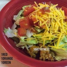 Healthy Taco Salad -1 Red, 1 Blue & 1 Green  1 Red Container of browned turkey, chicken or beef (based on your preferences) 1 Green Container with a mix of lettuce, tomatoes, and onions 1 Blue Container shredded cheese