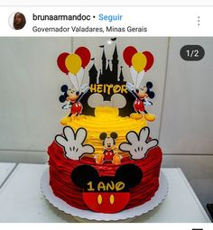 Mickey First Birthday, Mickey Mouse Clubhouse Birthday Party, Mickey Mouse Parties, Bolo Do Mickey Mouse, Mickey Cakes, Birthday Party Tables, Birthday Party Decorations, Birthday Cake, Beautiful Cake Designs