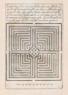 giovanni battista ferrari plan of a garden labyrinth plate from the volume de florum cultura libri quatuor, rome, 1633 milan, biblioteca braidense image from the book 'labyrinths: the art of the maze' by franco maria ricci published by rizzoli USA Maze Book, Labyrinth Maze, Labrynth, Basic Drawing, Minecraft, The Dark Crystal, Ancient Symbols, Painting Lessons, Graphic Design Typography
