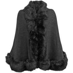Black Thick Oversize Fur Trim Shawl Wrap ($40) ❤ liked on Polyvore featuring black