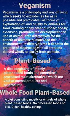 I like to explain that veganism is an ethical choice to not exploit animals, plant-based is a dietary choice, and whole food plant-based is a health choice. Vegan for the animals 🐷🐮🐤🦃 Plant-based for diet 🥨🥙🍟 Whole food plant-based for health 🥬🍎🥕🍋