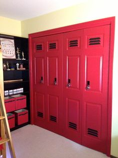 they made the folding closet doors look like lockers AWESOME! they made the folding closet doors look like lockers - Door Bedroom Doors, Closet Bedroom, Kids Bedroom, Boy Bedrooms, Kids Sports Bedroom, Bedroom Storage, Room Kids, Sports Theme Rooms, Sports Themed Bedrooms