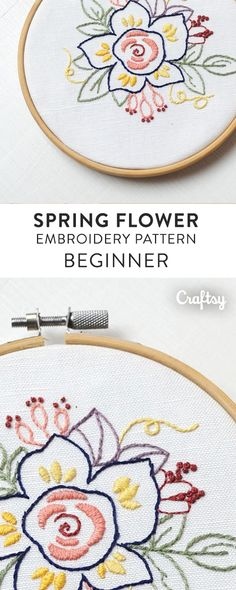 """Spring Flower"" is a pattern for hand embroidery using a combination of beginner friendly stitches like the stem stitch, fill stitch, french knot and back stitch. It's perfect on an apron, shirt, pillow, blanket, tea towel or embroidery hoop frame."
