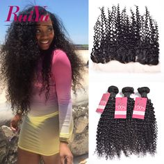 Lace Frontal Closure With Bundles Brazilian Kinky Curly Virgin Hair With Closure Curly Human Hair 3 Bundles With Frontal Closure