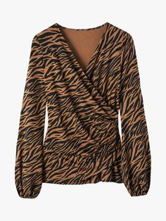 Buy Pure Collection Animal Print Jersey Wrap Top, Multi from our Women's Shirts & Tops range at John Lewis & Partners. Cropped Trousers, Zebra Print, Wrap Style, Personal Style, Pure Products, Clothes For Women, Long Sleeve, Collection, Tops