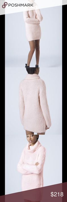 RARE Top Shop Brushed Roll Neck Sweater Dress Pale pink 58% acrylic, 23% nylon, 19% mohair. Machine washable. Topshop Dresses Midi