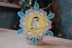 Птичка Новогодний сувенир точечная роспись, акрил, дерево