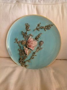 Seashells And Seaweed Majolica Antique Palissy Charger
