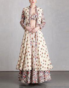Printed Khadi Jacket and Lehenga Set