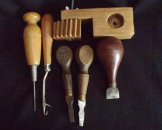 leather working tool set crafting implements vintage