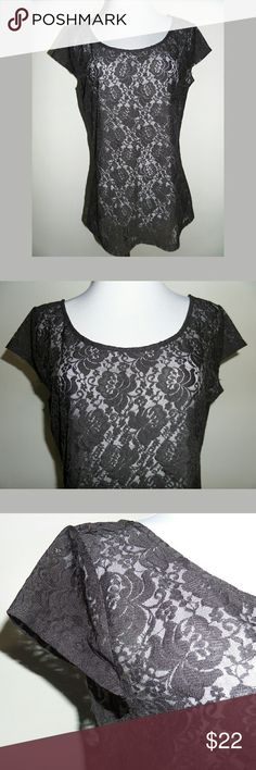 "⚡ FLASH SALE  LC Lauren Conrad Black Lace Blouse Classic black blouse. Sheer. Cap sleeves. 90% Polyester 10% Spandex.   Length: 24.5"" Pit to pit: 19""  *~* Bundle & Save *~* LC Lauren Conrad Tops Blouses"