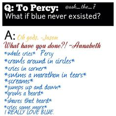 Anyone would think he was suffering from a fangirl attack. <= Percy is a proud member of the blue fandom