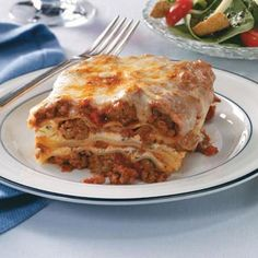 Make-Ahead Lasagna...i made this in the morning before work, and then baked it when i got home, it was delicious.