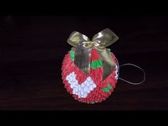 3D origami Christmas bauble with heart tutorial - YouTube