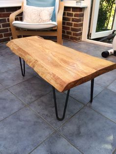 Custom made waney edge oak slab table tops made by SkyHighDesign