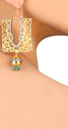 Rectangular bali style gold earrings encrusted with cz diamonds by BANSRI. Shop at www.perniaspopupshop.com