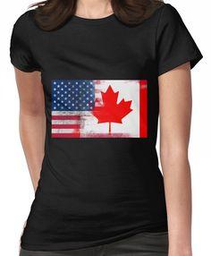 50bbc16f6877  Canadian American Half Canada Half America Flag  T-Shirt by ozziwar