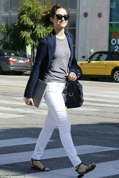 +2      Facebook     Twitter     WhatsApp     6     shares     2     comments  She's best-known for portraying hardworking big sister Fiona Gallagher in the US adaptation of Shameless.  But there was certainly nothing shameless about Emmy Rossum's effortlessly chic look as she headed out to grab an iced tea in West Hollywood on Sunday.   Opting for a nautical-inspired look, the 28-year-old actress looked smart and sophisticated, teaming a tailored navy blue blazer with a pair of white skinny…