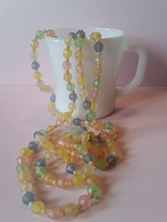 """Set of 3 Long Pastel Candy Colored Necklaces 