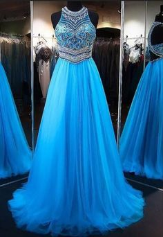A-Line Blue Tulle Prom Gown,Princess Jewel Sleeveless Brush #prom #promdress #dress #eveningdress #evening #fashion #love #shopping #art #dress #women #mermaid #SEXY #SexyGirl #PromDresses