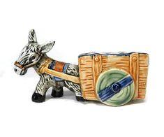 Donkey Cart Ceramic Planter Collectible Figurine Decorative