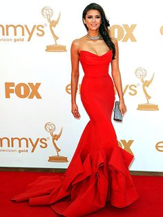 The best Emmys dresses of all time: Nina Dobrev in a red strapless Donna Karan gown