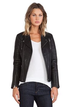 ANINE BING Classic Quilted Leather Jacket in Black | REVOLVE