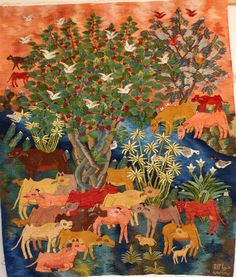 Egyptian artist Soraya Hassan's wall hanging tapestry depicts cows resting in the shade of a tree and drinking from the canal. Birds fill the flowering trees. Papyrus, lilies and succulents can be see Felt Patterns, Textile Patterns, Textile Art, Tapestry Weaving, Tapestry Wall Hanging, Textiles, Egyptian Art, Flowering Trees, Fabric Art