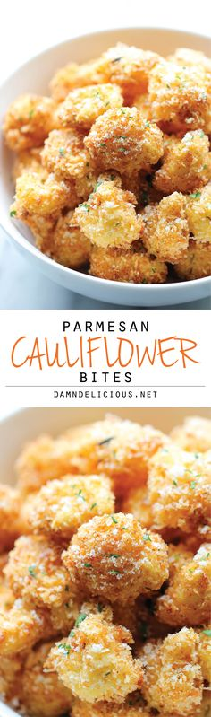 Parmesan Cauliflower Bites - Crisp, crunchy cauliflower bites that even the pickiest of eaters will love. Perfect as an appetizer or snack! (Fried, so not a healthy snack! Appetizer Recipes, Yummy Recipes, Vegetarian Recipes, Cooking Recipes, Healthy Recipes, Jalapeno Recipes, Recipies, Holiday Appetizers, Cooking Tools