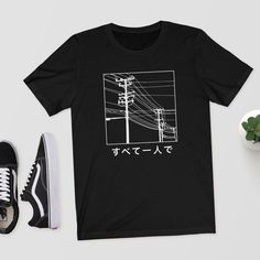 All Alone - Japanese T-Shirt - T-Shirt/Shirt/Top/Tee - Aesthetic T-Shirt,Japanese Shirt,Aesthetic,Ae Café Design, Icon Design, Design Room, Graphic Shirts, Printed Shirts, Retro T Shirts, T Shirt And Shorts, Tee Shirts, T Shirt Designs