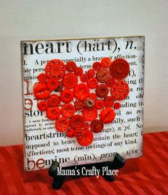 Button Art Heart: Scrapbook paper, Mod Podge, buttons and a tile!