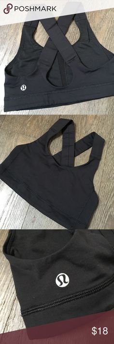 Lululemon Sports Bra Black with wide straps. Higher neck. Regular coverage and support. No signs of wear. Al stitching good. Not stretched out. lululemon athletica Tops Tank Tops