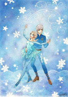 hya-chan-art:  Finally done!A copic drawing starring Jack Frost from the movie Rise of the Guardians (Dreamworks), and Elsa from the movie Frozen (Disney)! The picture was first drawn in the computer (the lineart), and then I printed it and colored it by hand with Copic Sketch pens (I have around 150), and Copic airbrush system. I used masking film to cover up parts that were supposed to not be airbrushed, and templates when airbrushing as well. Speedpaint video of this, here in HD! ...