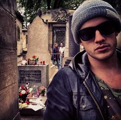 Michael Trevino Pere Lachaise Cemetery in Paris, France Michael Trevino, Damon Salvatore, Pere Lachaise Cemetery, Vampire Diaries, Gentleman, Mens Sunglasses, Actors, The Originals, Guys