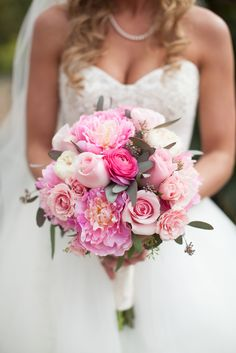 Pink Peony, Rose and Ranunculus Bouquet | Erika Brown Photography https://www.theknot.com/marketplace/erika-brown-photography-indianapolis-in-872109 | Kaitlin Poirier Photography | A Country Rose Florist https://www.theknot.com/marketplace/a-country-rose-florist-tallahassee-fl-353838