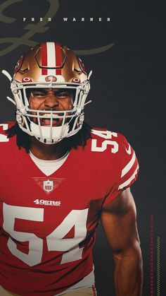 San Francisco Forty Niners Fred Warner Wallpaper #NinerNation #49ers Nfl 49ers, 49ers Fans, Sf Football, Football Helmets, 49ers Pictures, 49ers Players, Lionel Messi Wallpapers, Forty Niners, Patrick Willis