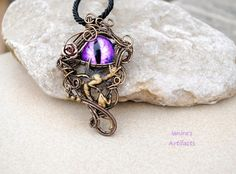 Gothic renaissance medieval victorian griffin gargoyle chimaera purple dragons eye wire wrapped pendant with flying gargoyle ooak aloadofball Gallery