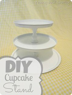 DIY Cupcake Stand - Dollar store pizza pan, stove top covers and candlesticks