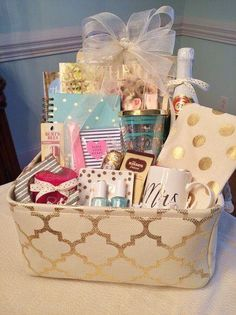 Wedding gift basket filed with personalized gifts made with my engagement gift basket grits and pearls solutioingenieria Gallery