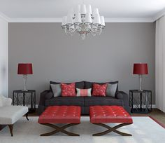 Grey-Room-With-Red-Accents, living room =) Living Room Red, Living Room Interior, Home Design, Interior Design, Modern Design, Grey Room, Black Furniture, Red Accents, Room Colors